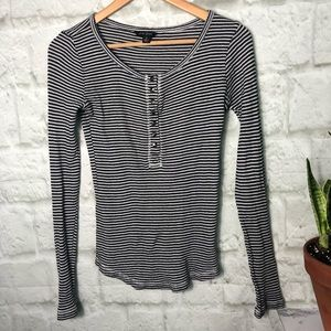 Lucky Brand waffle thermal striped shirt small